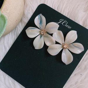 NWT J. Crew Acrylic Floral Crystal Post Earrings
